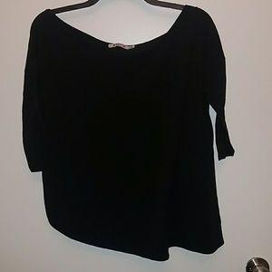 3/4 length black off the shoulder shirt